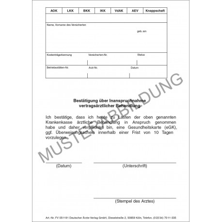 Bestätigung über Inanspruchnahme - Deutscher Ärzteverlag GmbH