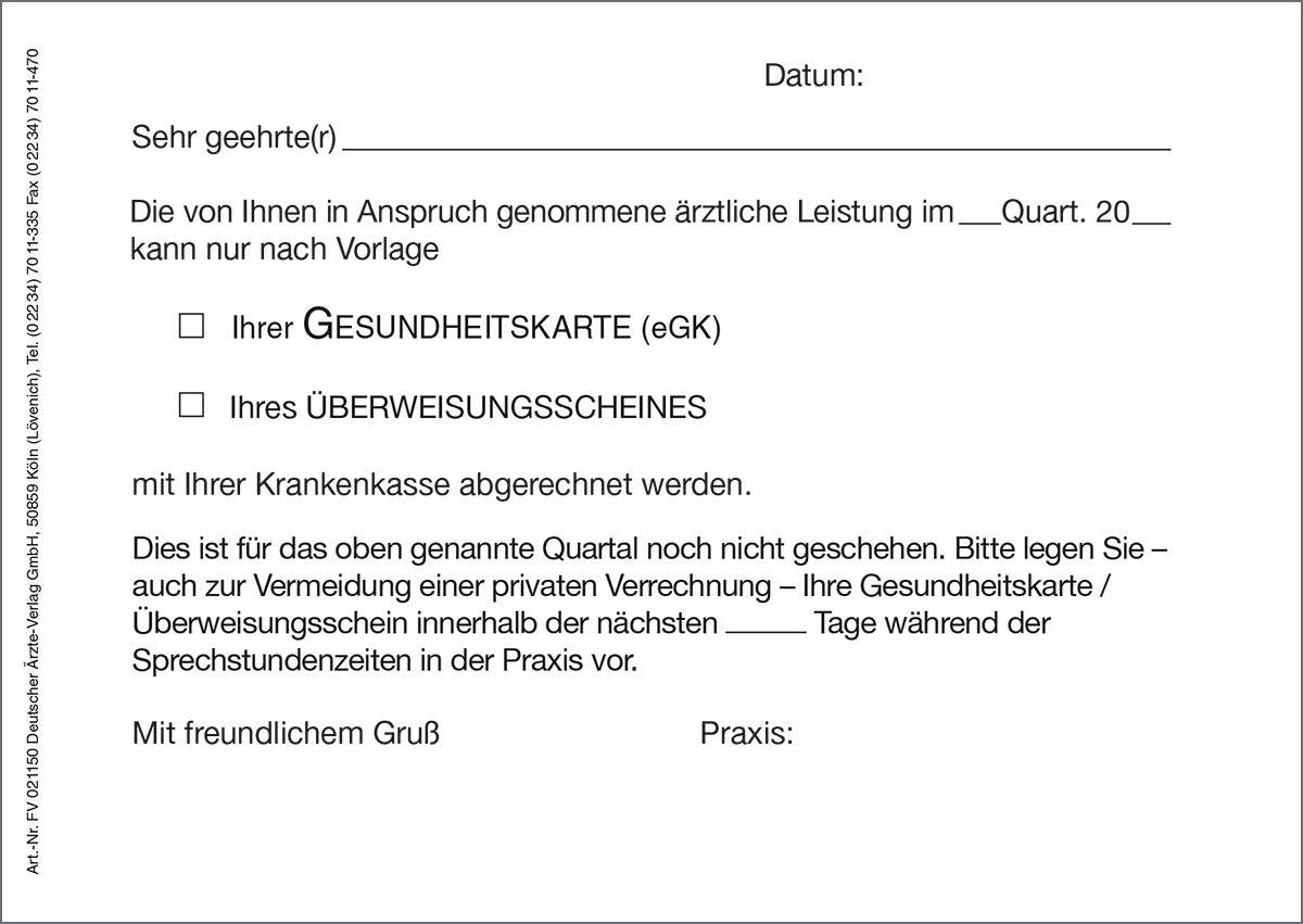 Erinnerungskarte fehlende Versichertenkarte /eGK - Deutscher ...