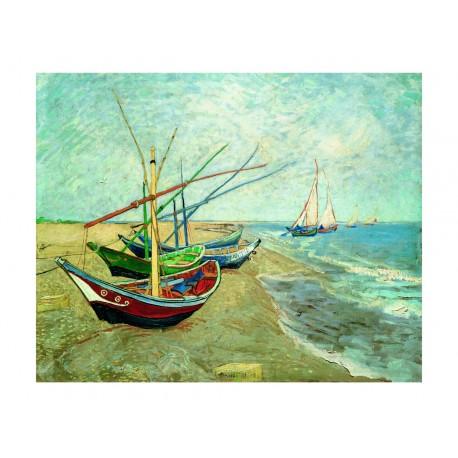 Fischerboote am Strand von Saintes-Maries-de-la-Mer, Vincent van Gogh