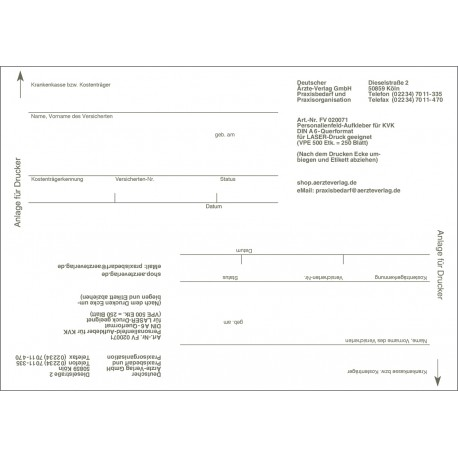 Personalienfeldetiketten für die eGK (2 je Blatt)