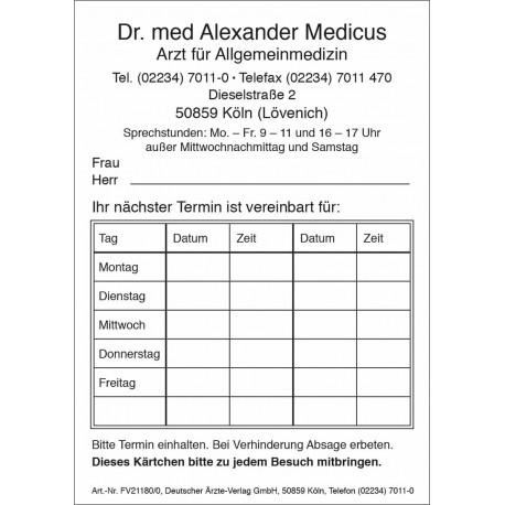 Behandlungskarte A7 (mit Aufdruck)